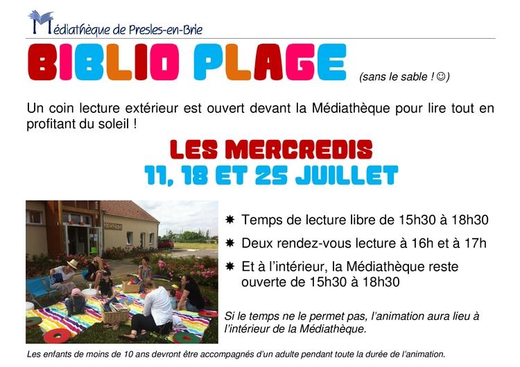 Biblio-plage - Médiathèque de Presles-en-Brie