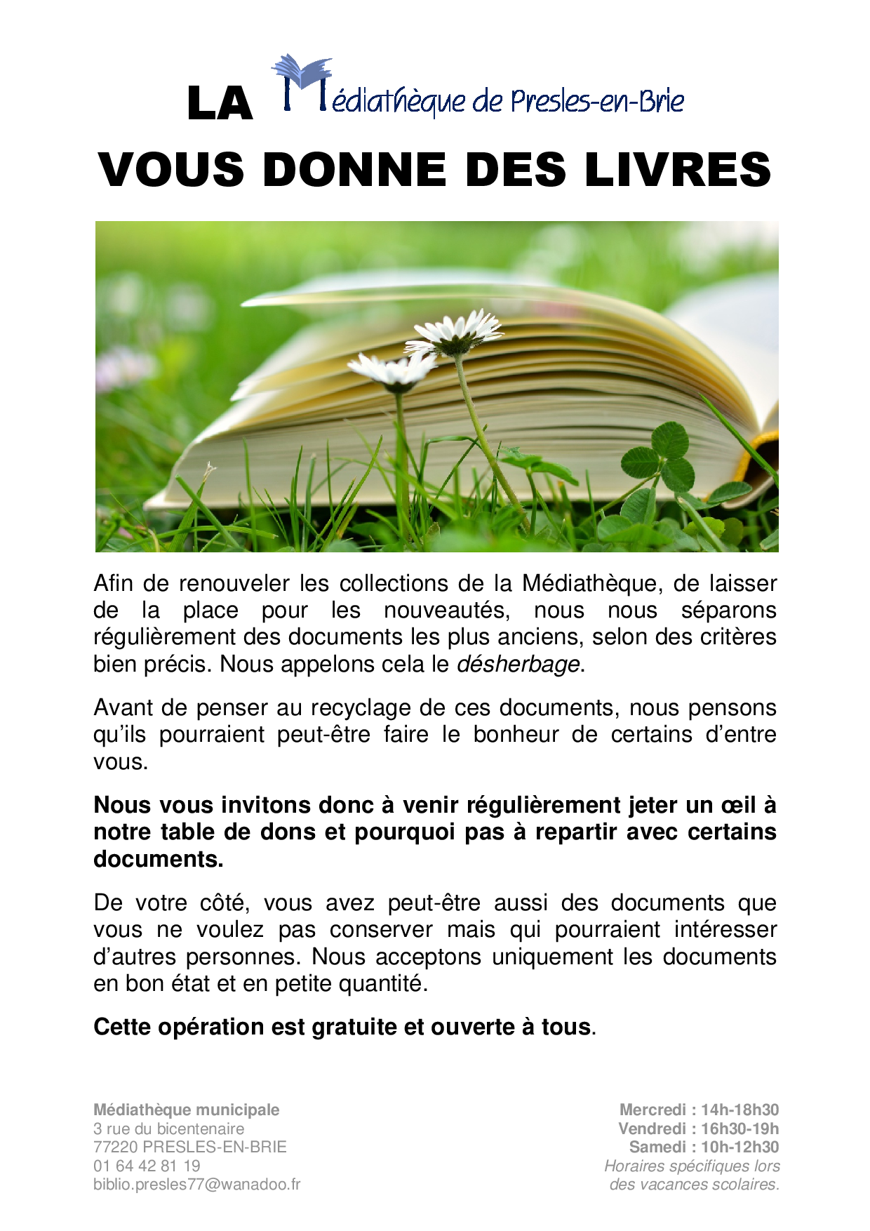 Dons aux usagers - Médiathèque Presles-en-Brie